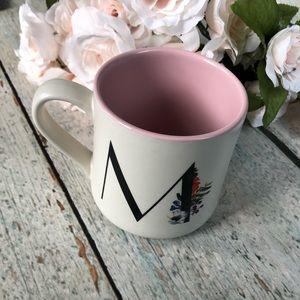 3/$25 Indigo mug monogram M flowers pink coffee